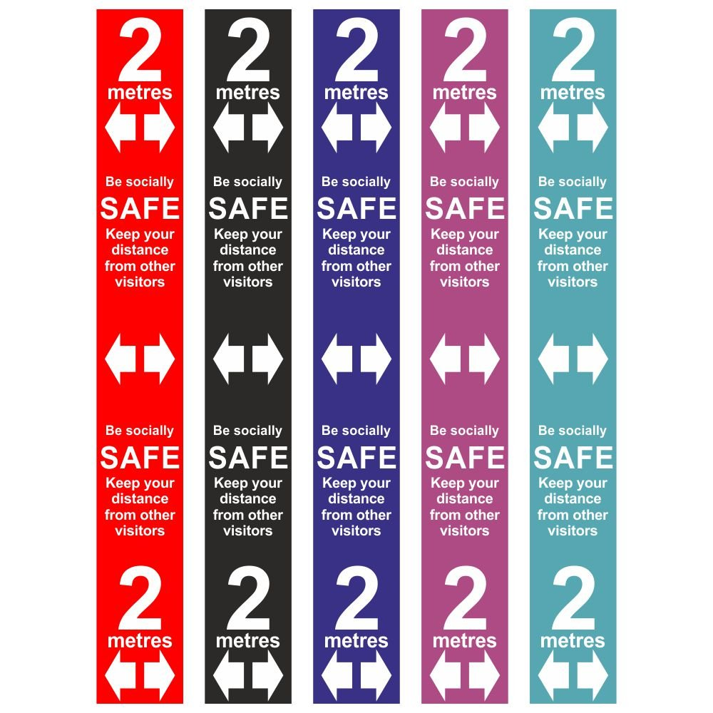 Shop Social Distancing Please Keep 2 Metres Apart Floor Graphics Red Stickers