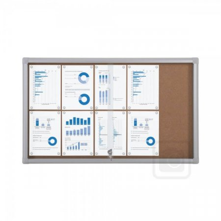 10 X A4 Outdoor Lockable Cork Notice Board with Sliding Doors