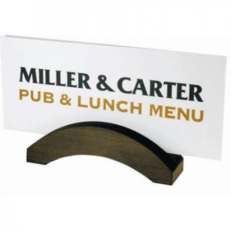 Wooden Bridge Menu Holder with Miller & Carter Menu