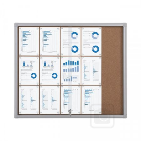 15 X A4 Outdoor Lockable Cork Notice Board with Sliding Doors