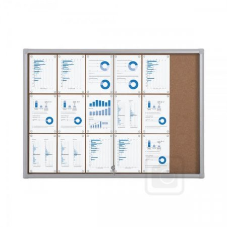 18 X A4 Outdoor Lockable Cork Notice Board with Sliding Doors