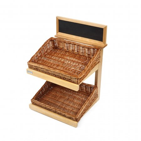 2 Tier Wooden Counter Top Display Stand with Baskets, Plinth & chalkboard