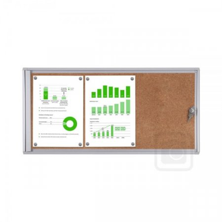 3 x A4 Indoor Lockable Cork Notice Board