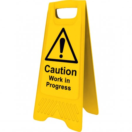 Caution Work In Progress Yellow A-board Sign