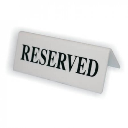 White Reserved Table Signs