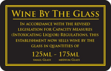 Wine by the Glass 125 - 175ml Sign (110 x 170mm)