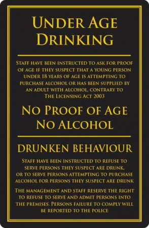 Under Age Drinking Sign