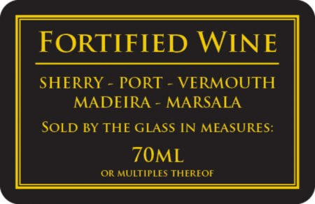 Fortified Wine 70ml Sign (110 x 170mm)