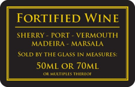 Fortified Wine 50 or 70ml Sign (110 x 170mm)
