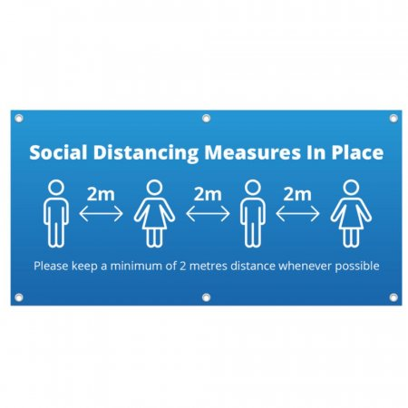 Social Distancing Measures in Place PVC Banner - Blue