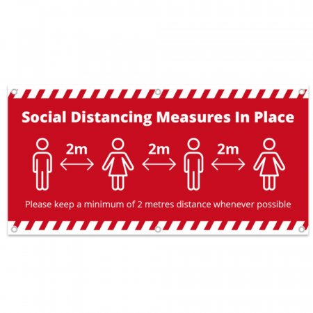 Social Distancing Measures in Place PVC Banner - Red