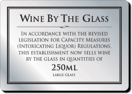Wine by the Glass 250ml Sign
