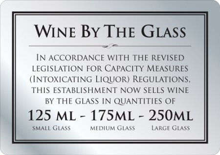 Wine by the Glass 125ml - 175ml - 250ml Sign