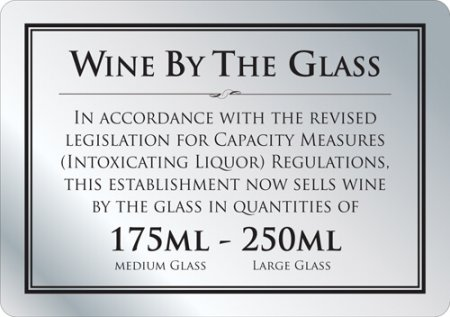 Wine by the Glass 175ml - 250ml Sign