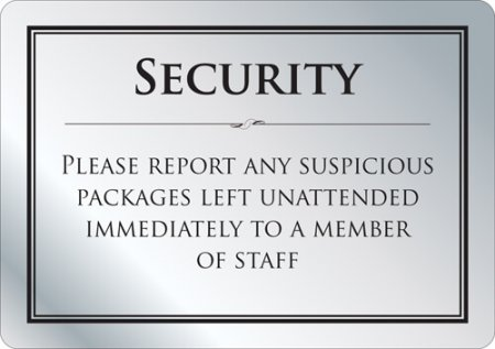 Security - Suspicious Packages Sign