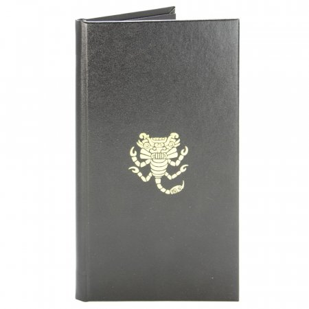 Black leather bill presenter folder with gold logo