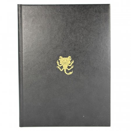 Black leather menu cover with gold logo
