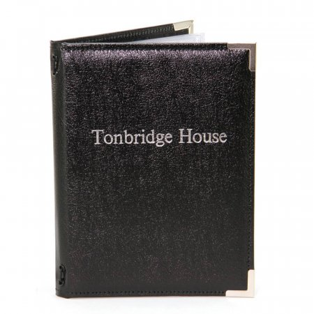 Black Full Recycled Leather Menu Cover