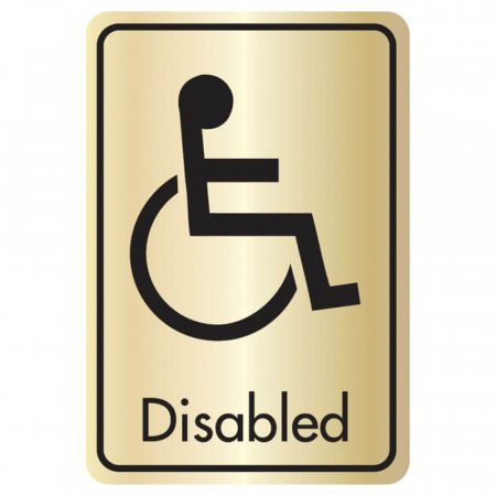 Brushed Gold Disabled Toilet Signs