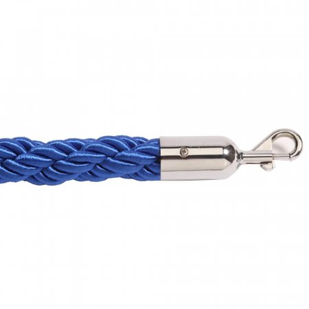Blue Twisted Barrier Ropes with Chrome Ends