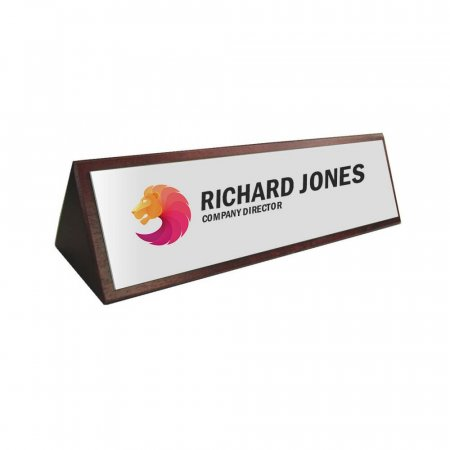 Desk Sign Wood with Printed Acrylic Plate - Text & Logo