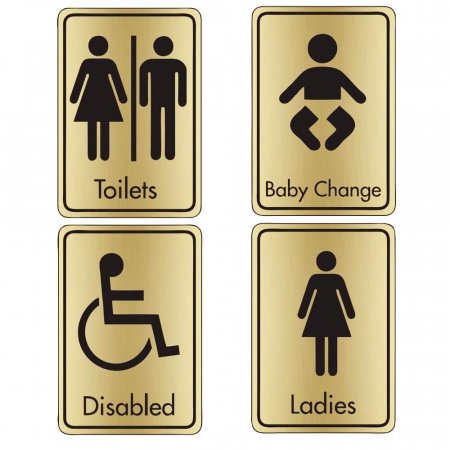 Brushed Gold Toilet Signs