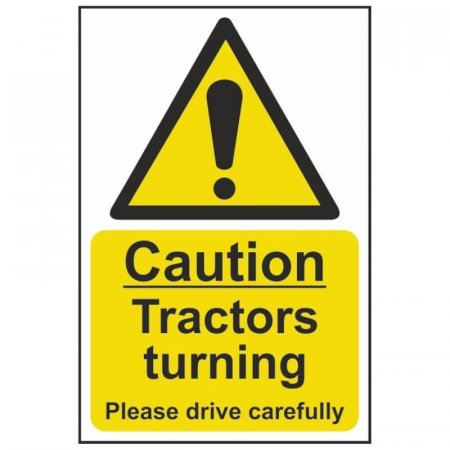 Caution Tractors Turning Warning Sign