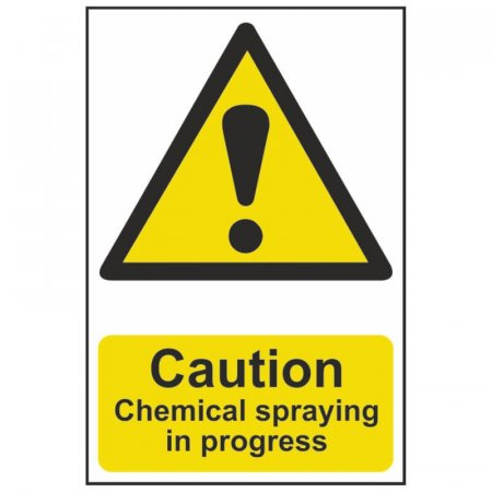 Caution Chemical Spraying in Progress Warning Sign