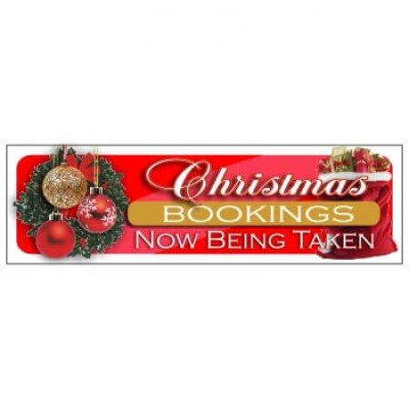 Christmas Bookings PVC Banner - Wreath