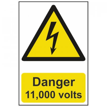Danger 11000 Volts Warning Sign