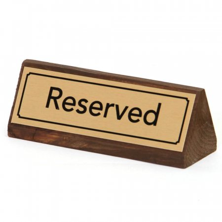 Gold Reserved Table Signs Wood