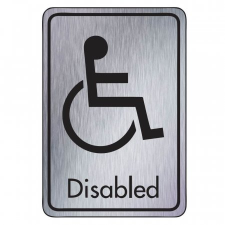 Brushed Silver Disabled Toilet Signs