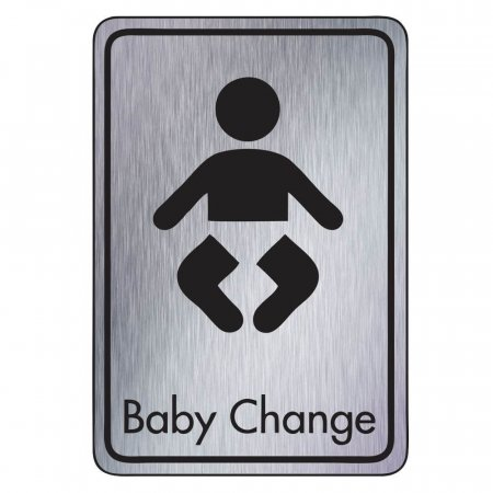 Brushed Silver Baby Change Toilet Signs