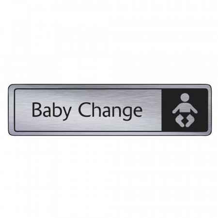 Brushed Silver Baby Change Signs