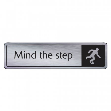 Brushed Silver Mind the Step Signs