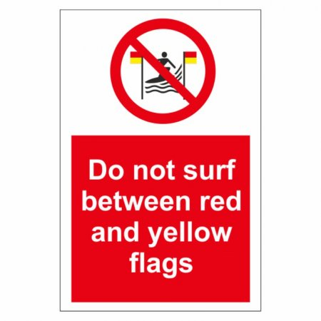 Do Not Surf Between Red & Yellow Flags Signs