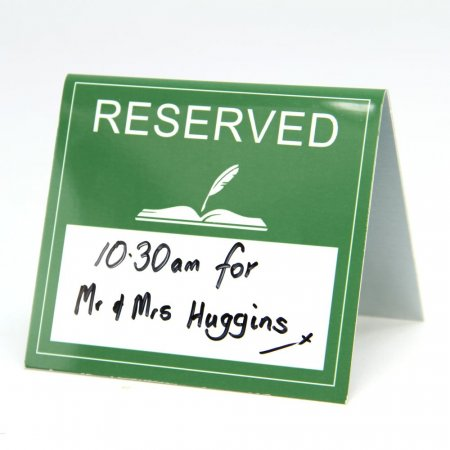 Reserved Table Signs with Drywipe Area
