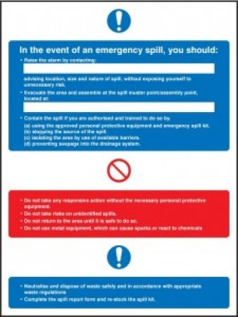 Emergency Spill Kit Actions Sign