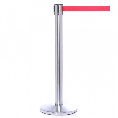 Extra Long Retractable Belt Barriers - Polished Stainless Steel, Red Belt