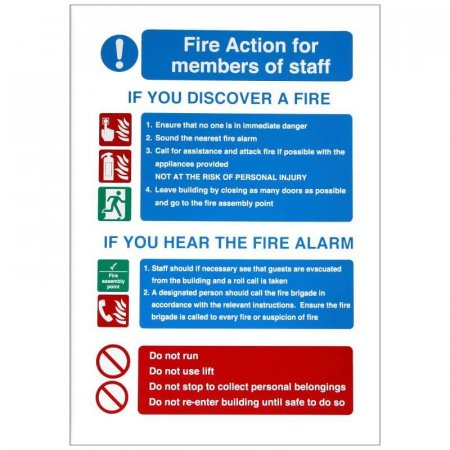 Fire Action For Members Of Staff Sign