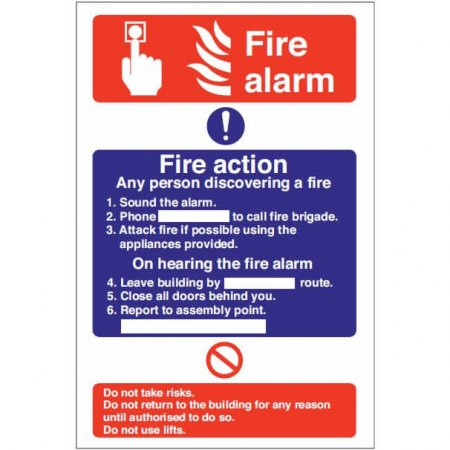 Fire Alarm Action Sign
