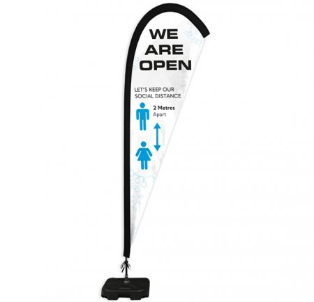 We Are Open Feather Flags