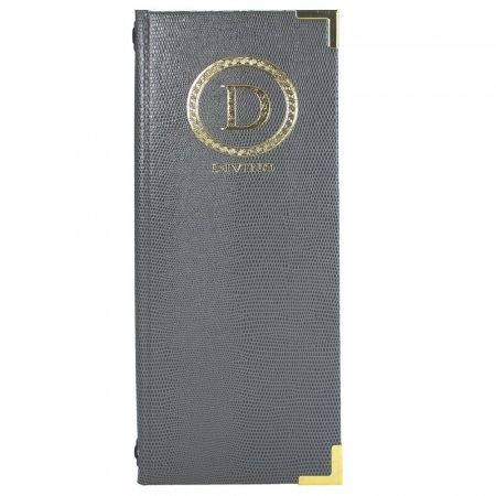 Graphite Grey Menu Cover with Gold Logo