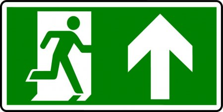 Emergency Exit Sign - Man with Up Arrow