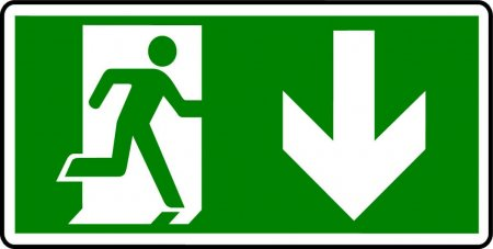 Emergency Exit Sign - Man with Down Arrow