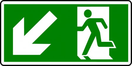 Emergency Exit Sign - Man with Down Left Arrow