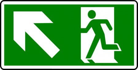 Emergency Exit Sign - Man with Up Left Arrow