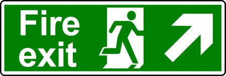 Fire Exit Sign - Man with Up Right Arrow