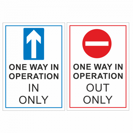 Social Distancing Traffic Signs - In & Out Only