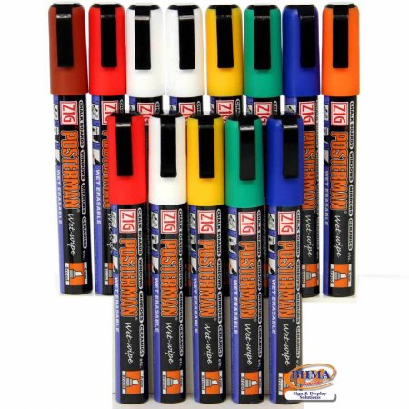 Wet Wipe Chalk Pens - Assorted Colours